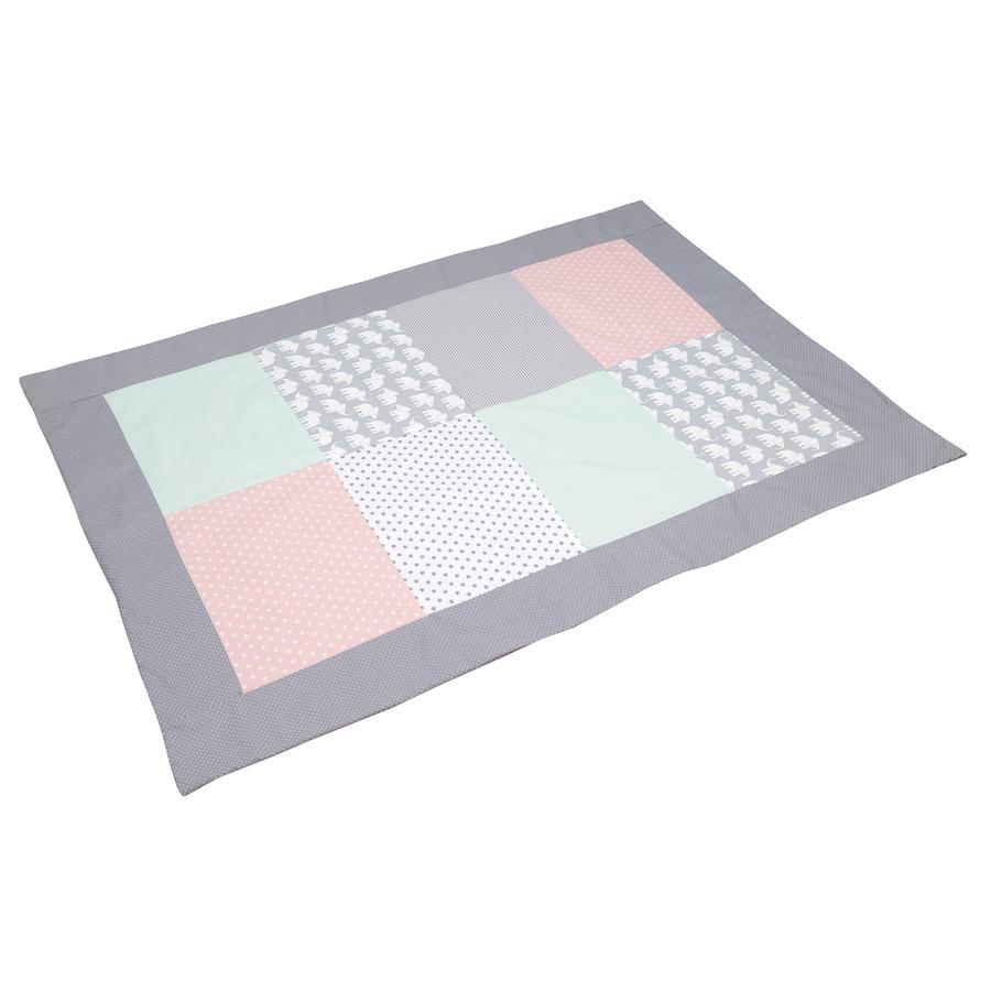 ULLENBOOM® Peitto tilkkutäkki 100 x 140 cm Norsu mintunvärinen / roosa
