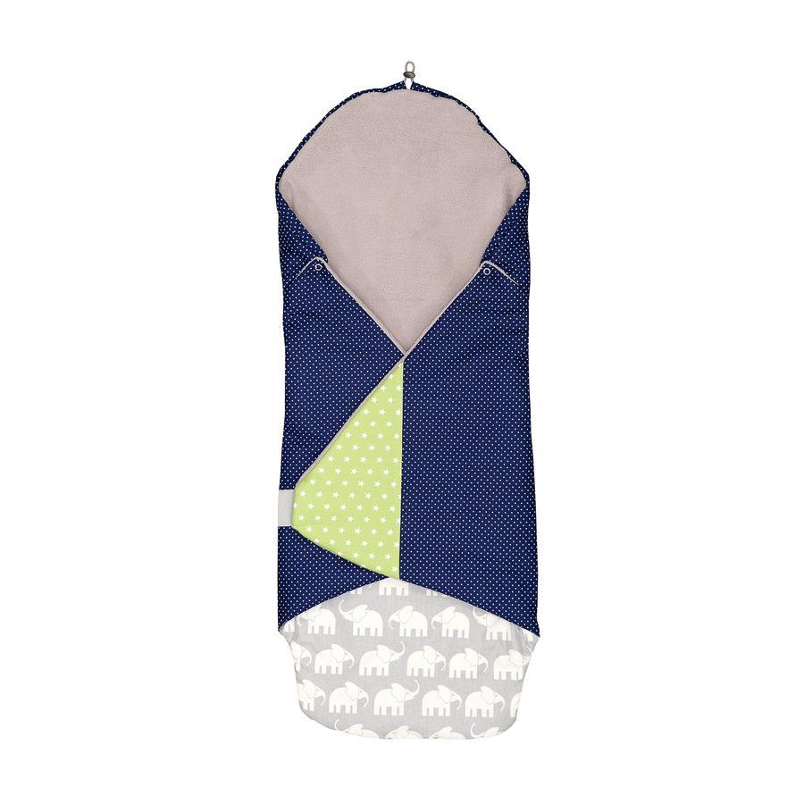 ULLENBOOM ® Manta envuelta Elefante Azul Verde 98 x 98 x 2 cm