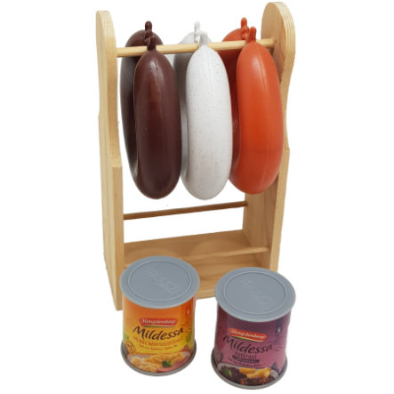 Tanner - Présentoir saucisses pour marchande enfant Le petit marchand bois