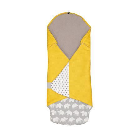 ULLENBOOM® Couverture bébé enveloppante éléphant jaune 98x98x2 cm
