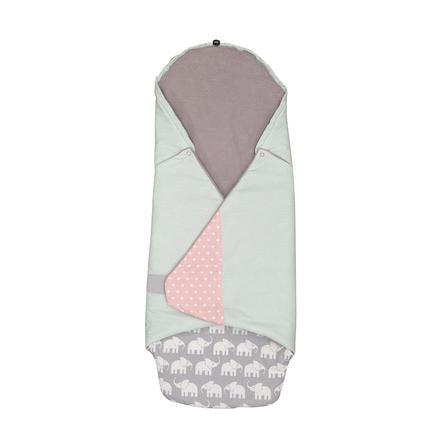 ULLENBOOM® Couverture bébé enveloppante éléphant menthe rose 98x98x2 cm