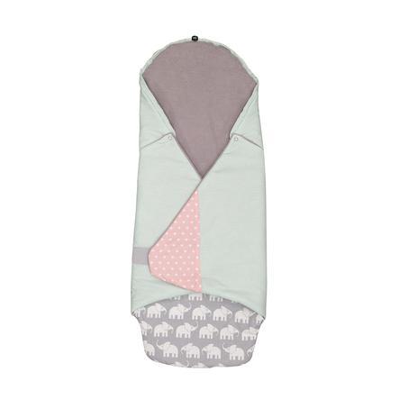 ULLENBOOM® Einschlagdecke Elefant Mint Rosa 98 x 98 x 2 cm