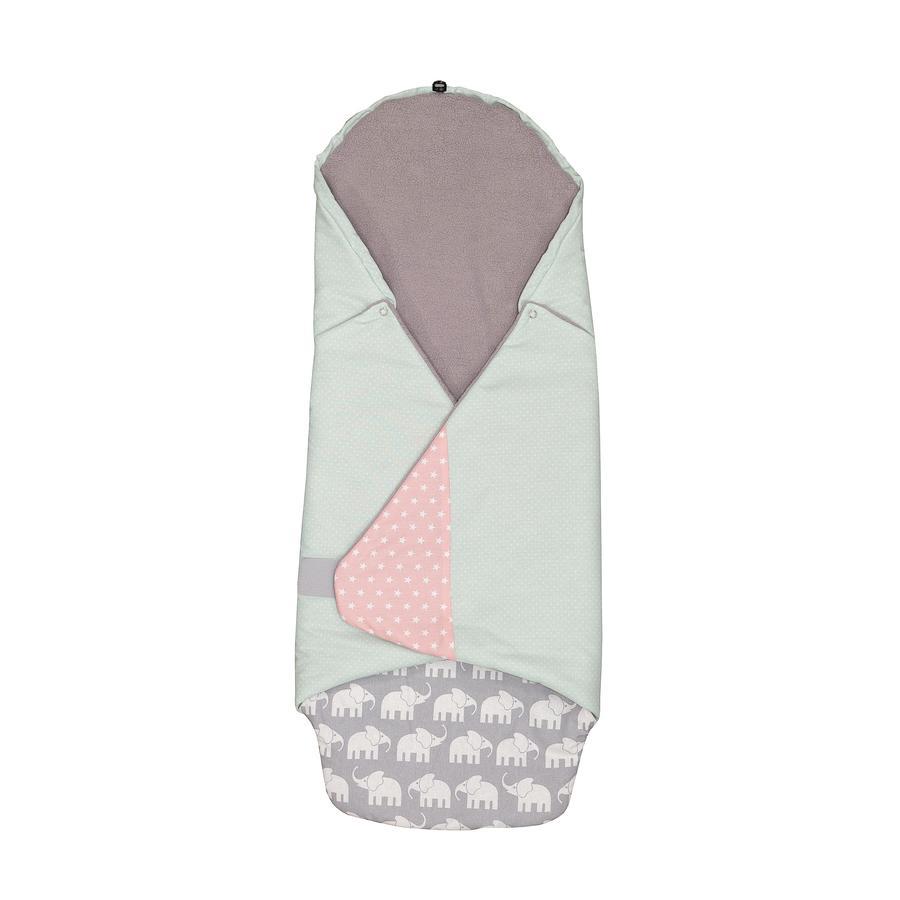 ULLENBOOM ® Obálková deka Elephant Mint Pink 98 x 98 x 2 cm