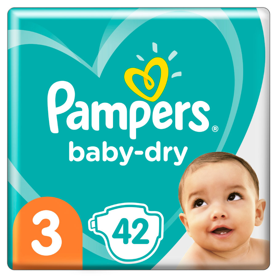 Pampers Baby-Dry Größe 3, 42 Windeln, bis zu 12Stunden Rundumschutz, 6-10kg