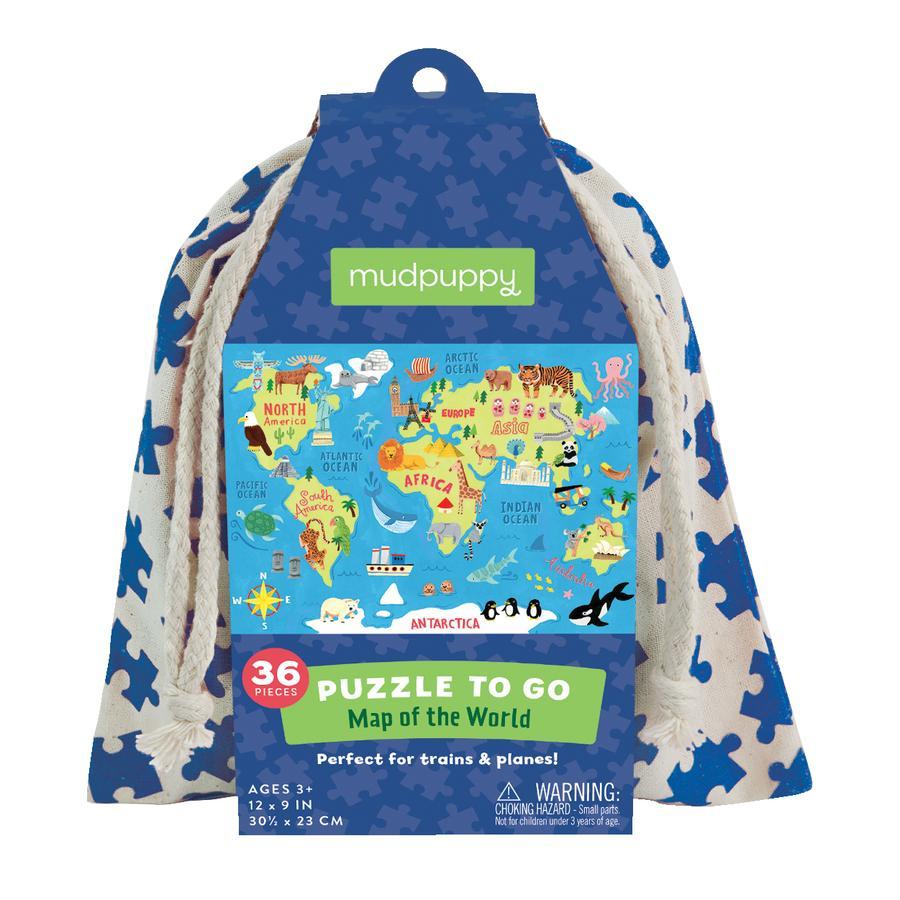 mudpuppy Puzzle To Go - verdenskort