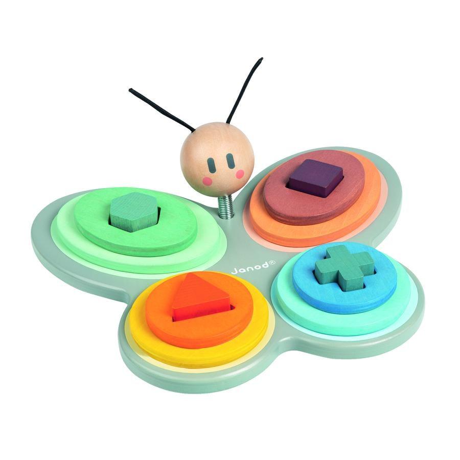 Janod ® Sweet Cocoon sortering og farve leger sommerfugle