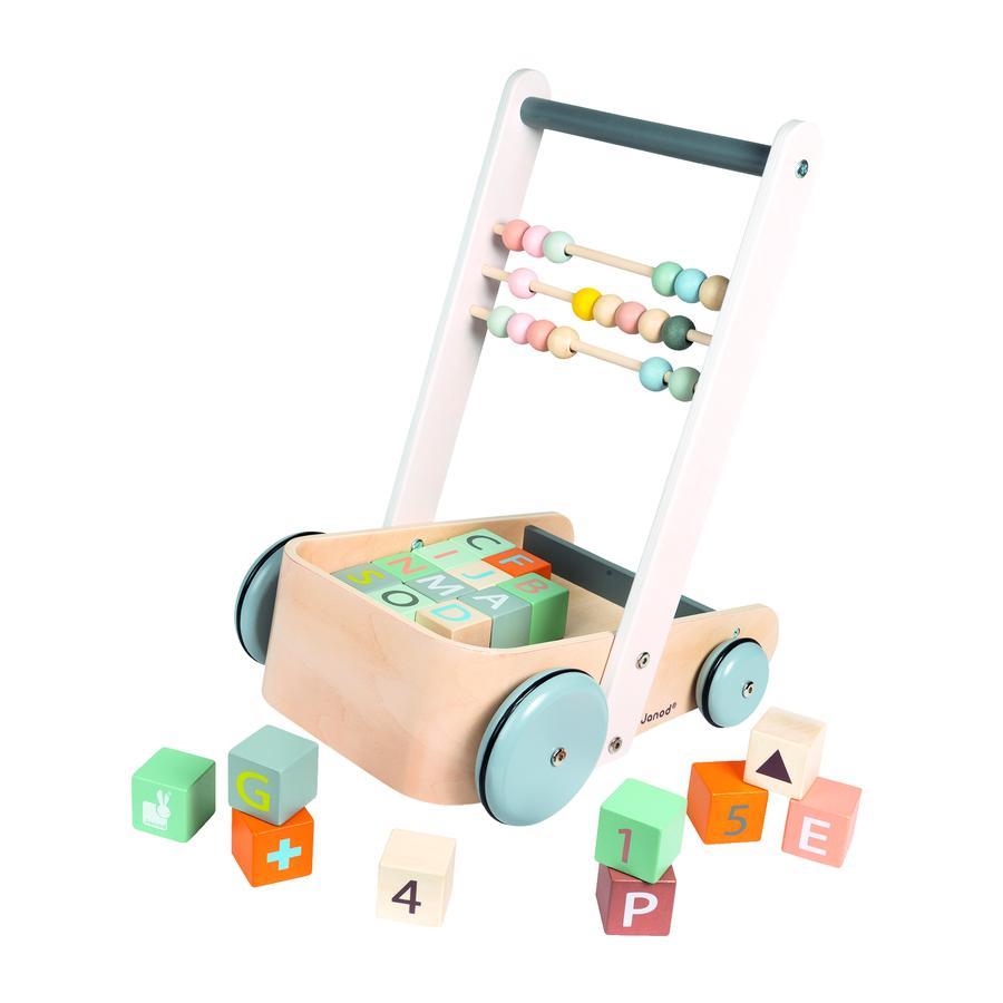 Janod® Sweet Cocoon Laufwagen ABC mit Bausteinen und Rechenschieber
