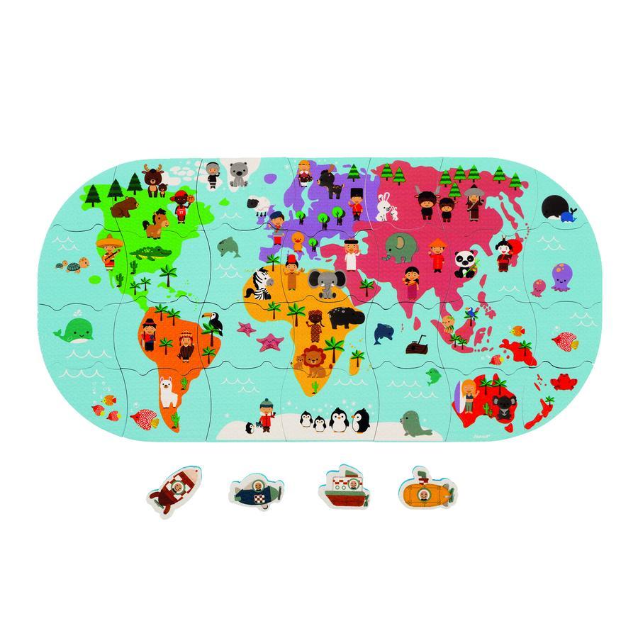 Janod ® Badeleker verdenskartpuslespill 28 stk