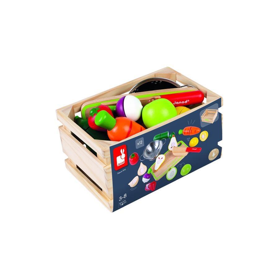 """""""Janod ® Frugt og grønt sæt """"""""Green Market"""""""" med tilbehør i kassen"""""""