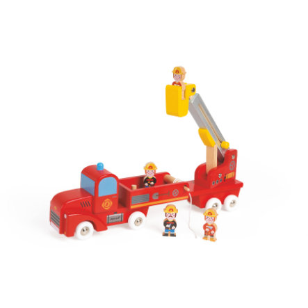 Janod® Story Feuerwehrauto mit 4 Holzfiguren