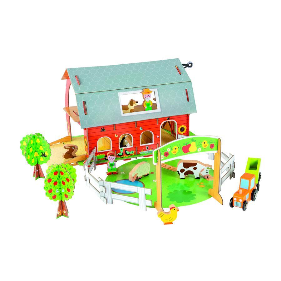 Janod ® Story konstruktion set gård med djur