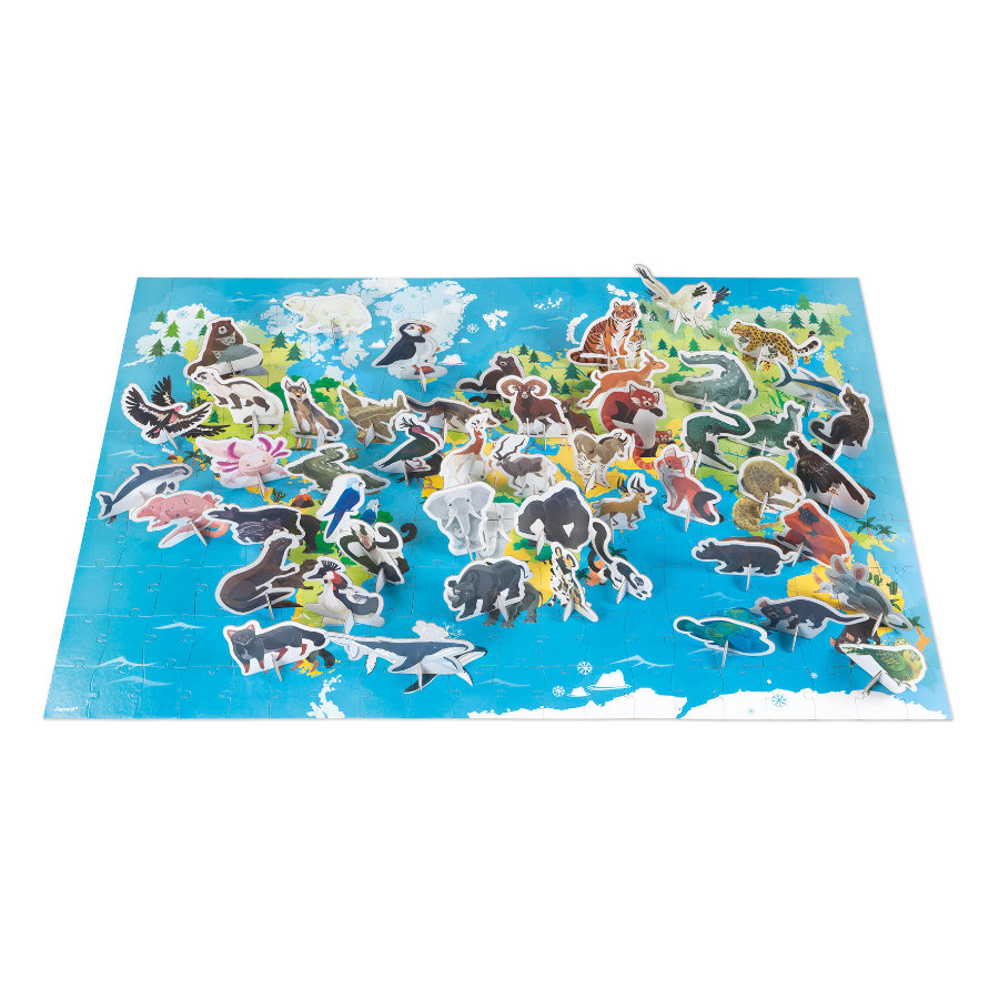 Janod® Edukativ-Puzzle -Gefährdete Tiere- 200 Teile