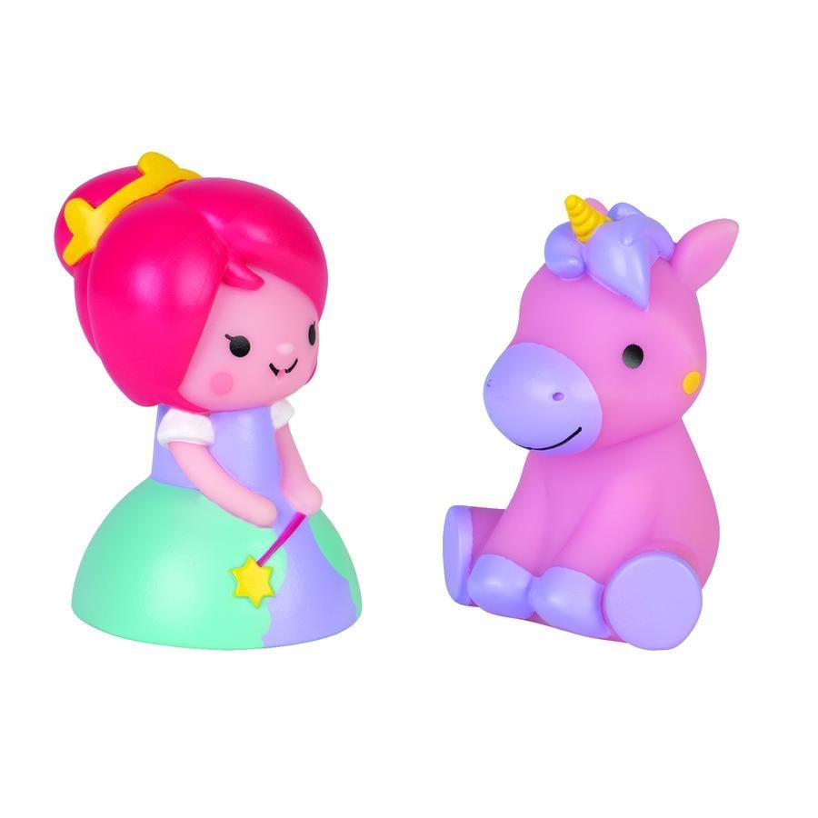 Janod hračky do koupelny - princezna a svítící jednorožec, 2 kusy