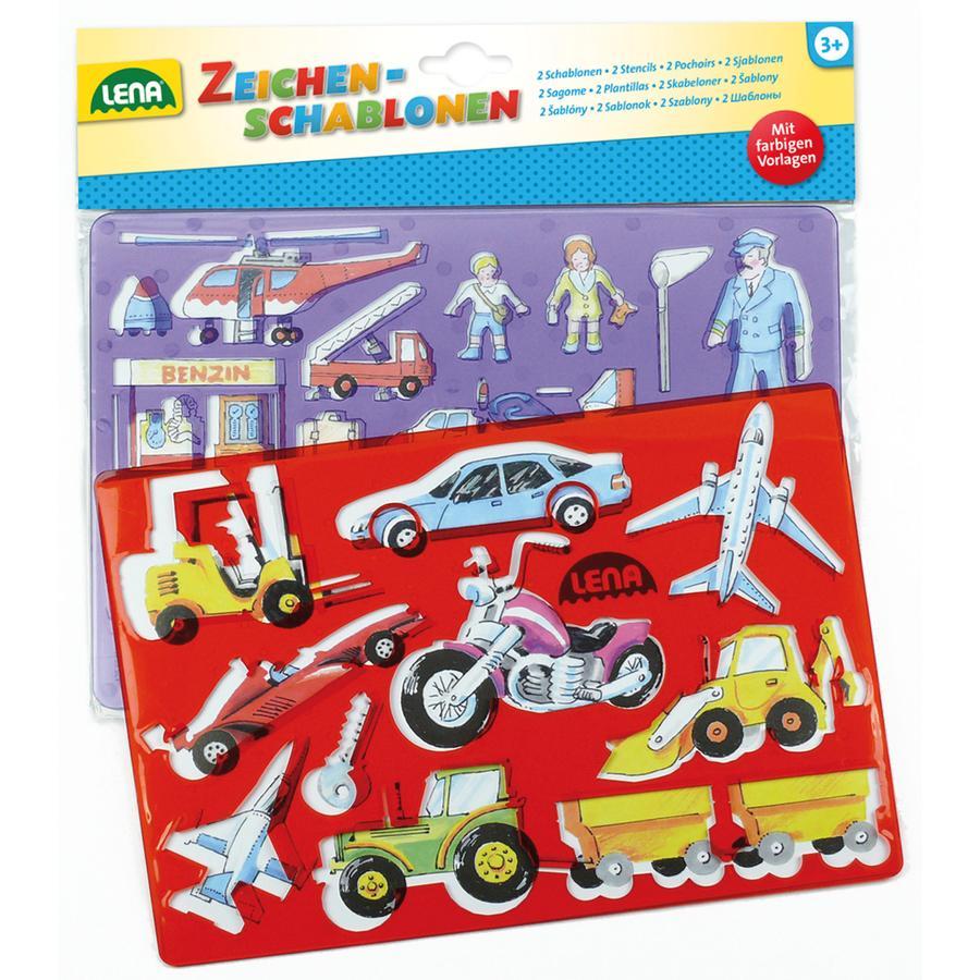 LENA® Kjøretøy og mennesker tegnesjablonger