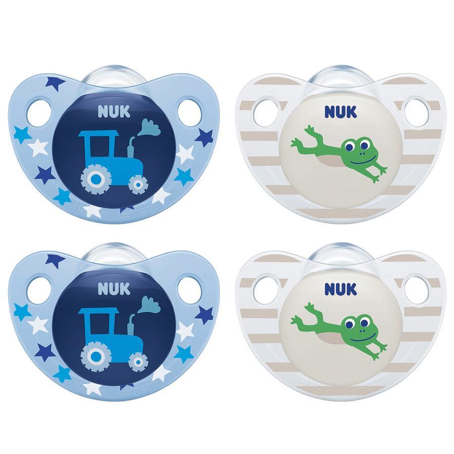 NUK Fopspeen Trendline Siliconenmaat 1 blauw/groen 4 stuks vanaf de geboorte