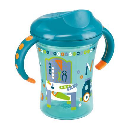 NUK Tasse d'apprentissage Trainer Cup Easy Learning, bordure rigide, 250 ml, pétrole
