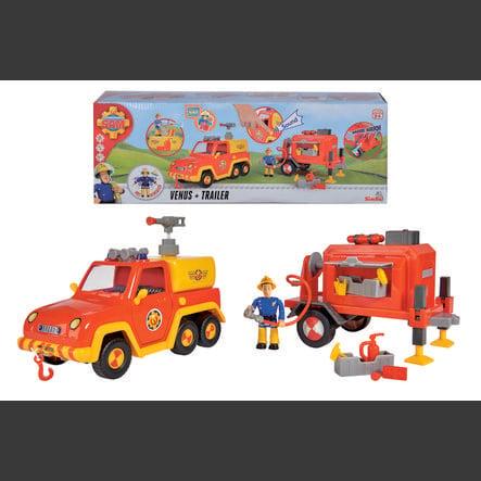 Simba Figurine camionnette Vénus, remorque, figurine Sam le pompier
