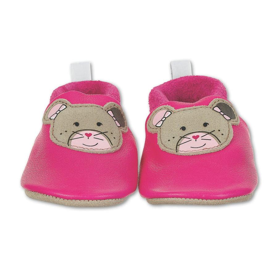 Sterntaler Zapatos de bebé para gatear de cuero magenta