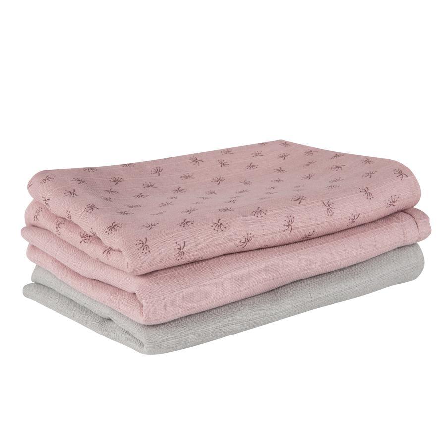 roba Gaasluiers 3 st. set Lil Planet roze 80 x 80 cm