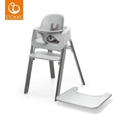 STOKKE® Steps™ Hochstuhl Buche grau Storm Grey inkl. Baby Set grau+ Gratis Tray grau