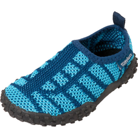 Playshoes Strick-Aqua-Schuh marine/hellblau