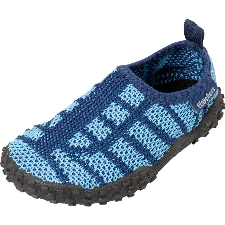 Spelar stickad aqua marin sko / ljusblå