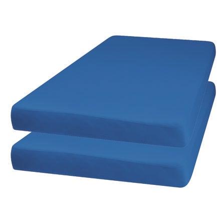 Playshoes Drap housse enfant Jersey bleu 70x140 cm lot de 2