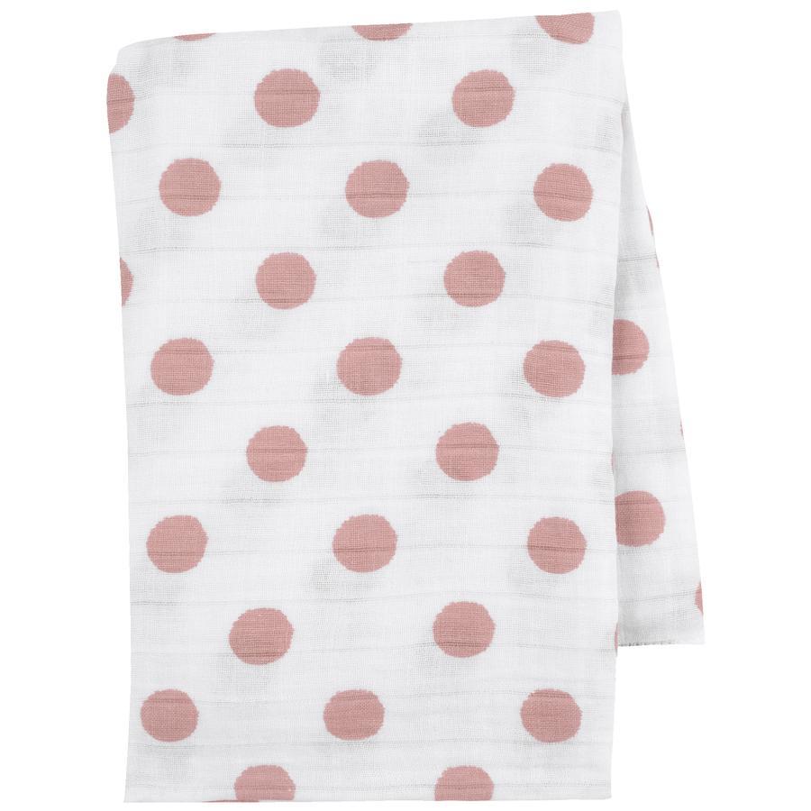 emma & noah Hydrofiele doek Stipjes roze 120 x 120 cm