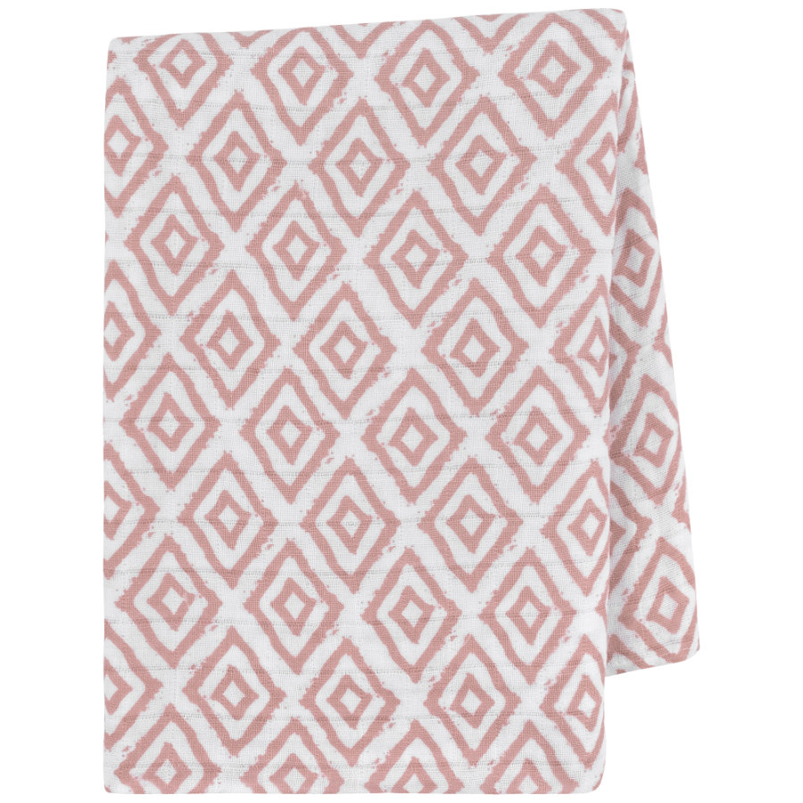 emma & noah svøbetæppe ruder rosa 120 x 120 cm