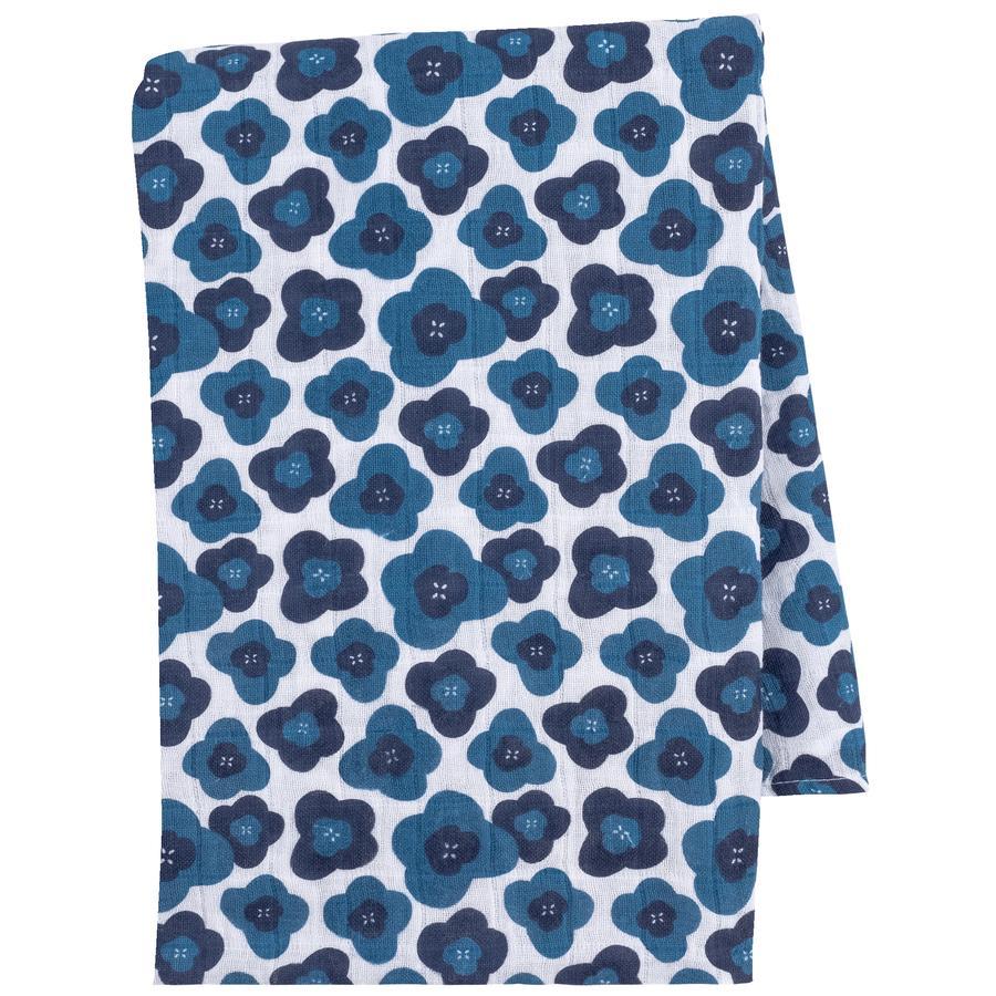 emma & noah Hydrofiele doek Bloemen blauw 120 x 120 cm