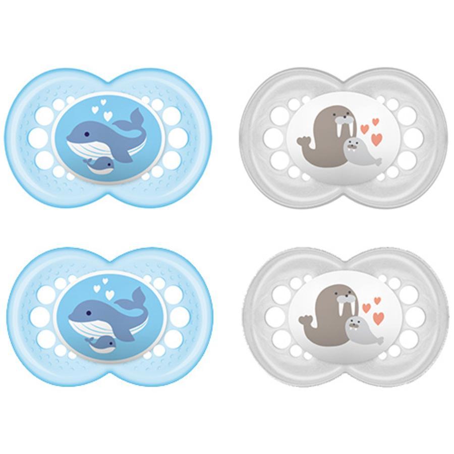 MAM sucette Original bleue / transparent 6 - 16 mois silicone 4 pièces