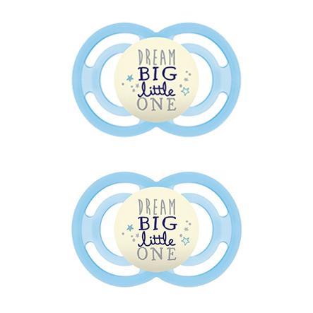 MAM ciuccio Perfect Night blu da 6 mesi in silicone 2 pezzi