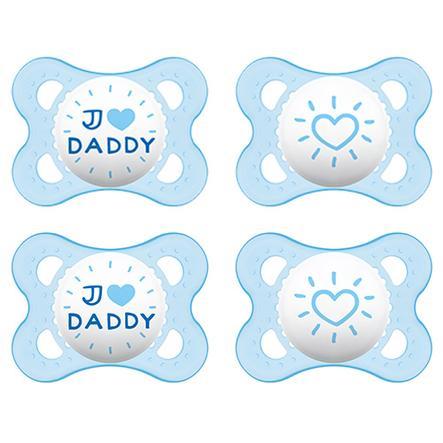 MAM Sut Original i blå silikone 'I love Daddy' 0-6 måneder 4 stk.