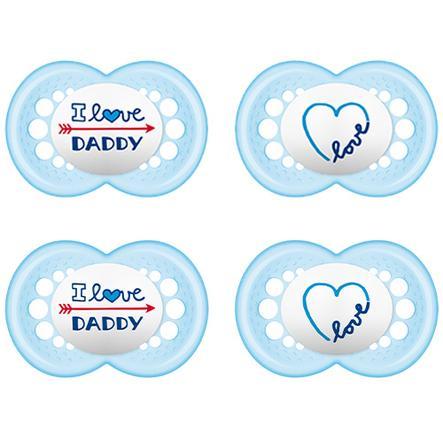 MAM ciuccio Original blu / petrol amo Daddy 6 - 16 mesi silicone 4 pezzi 4 pezzi
