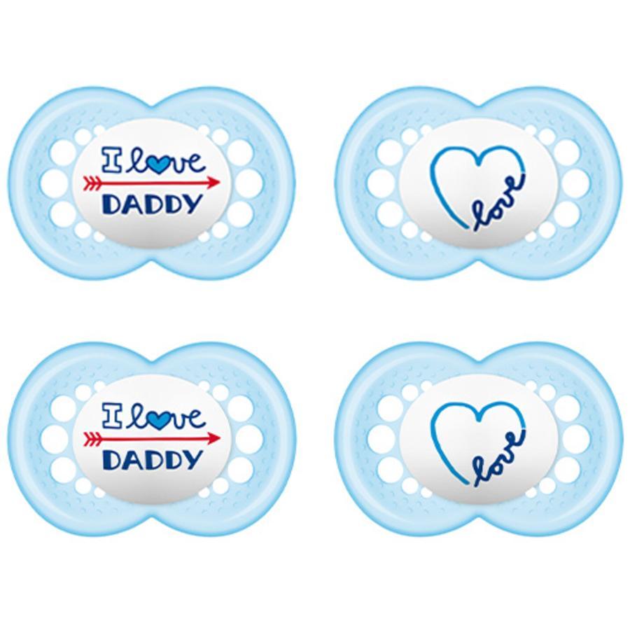 MAM Sut Original blå 'I love Daddy' 6-16 måneder silikone 4 stk.