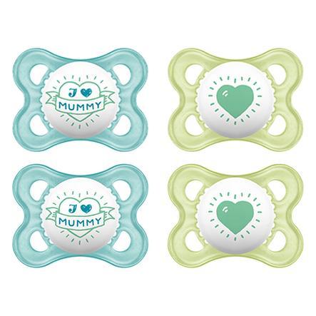 "MAM Original ""I love Mommy"" Sut i blå silikone 0-6 måneder 4 stk."