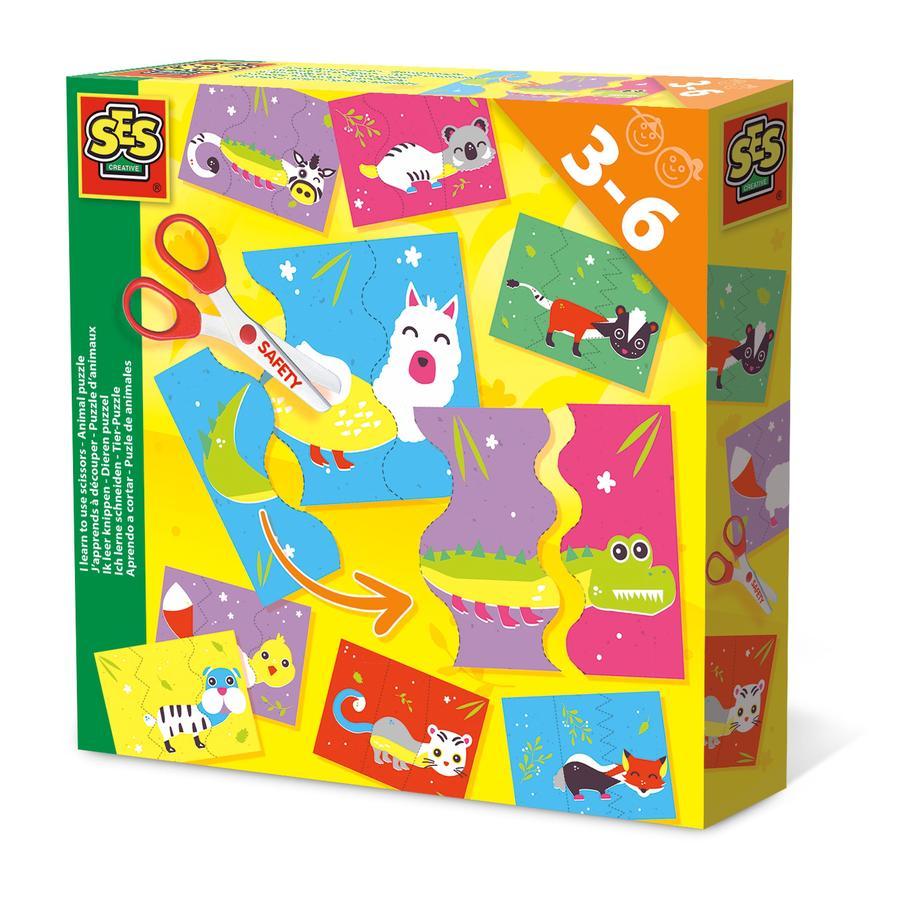 SES Creative Učím se stříhat - zvířecí puzzle