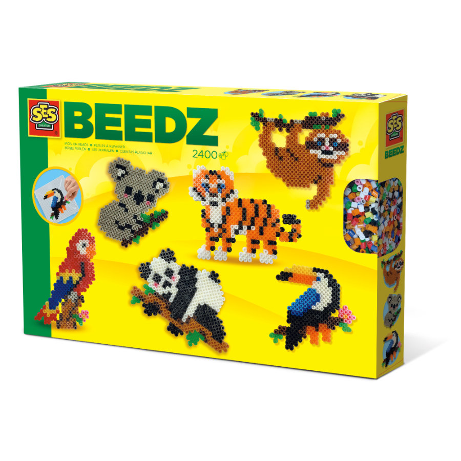 SES Creative® Set de perles thermocollantes animaux de la jungle