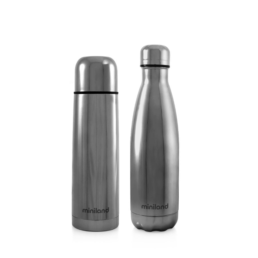 miniland myBaby&me deluxe Thermosfles zilver 500ml