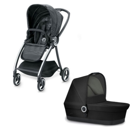 gb PLATINUM Kinderwagen Maris Plus Lux Black mit Kinderwagenaufsatz Cot Monument Black
