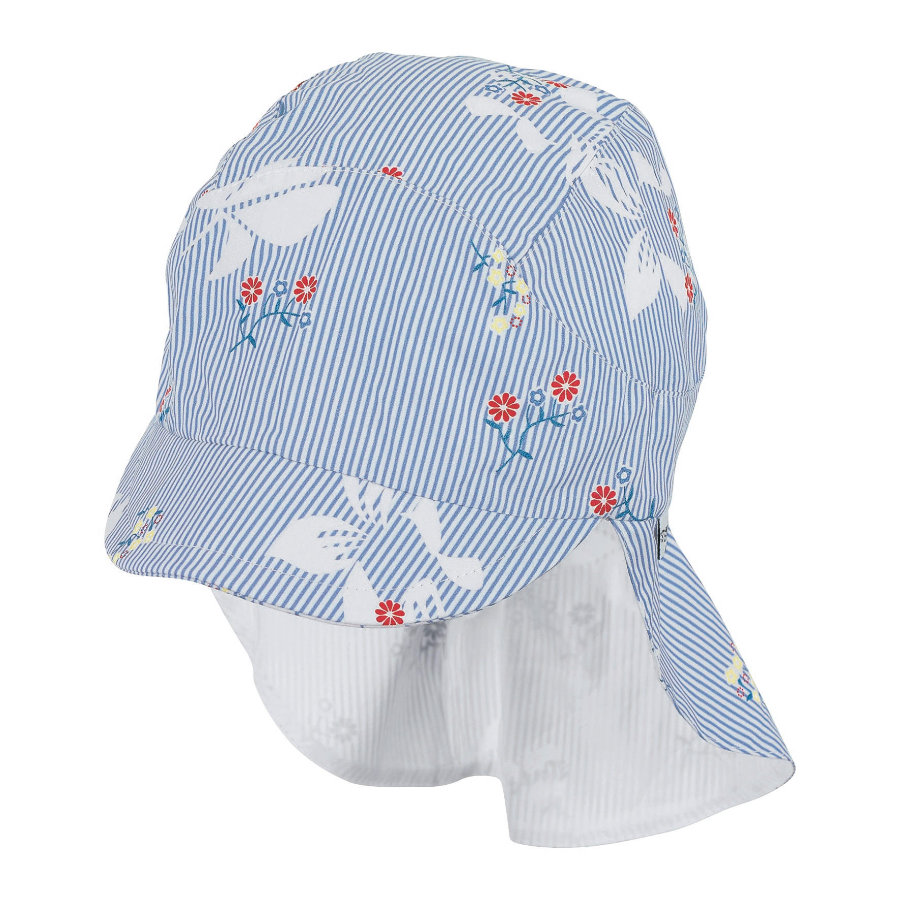 Sterntaler Bonnet enfant à visière, protège-cou bleu ciel