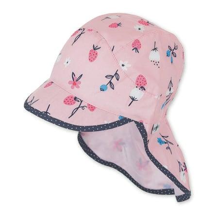 Sterntaler Bonnet enfant à visière, protège-cou rose