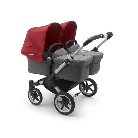 bugaboo Zwillingswagen Donkey 3 Twin Complete Au/Grey Melange-Red