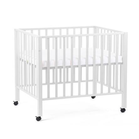 CHILDHOME Parc bébé roulettes 93 bois blanc 75x95 cm