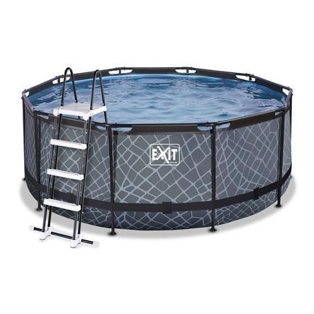 EXIT Stone Pool ø360x122cm met Zandfilterpomp, grijs