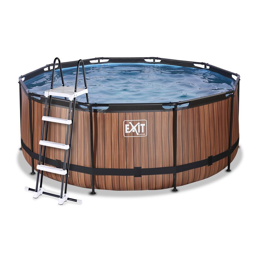 EXIT Wood Pool ø360x122cm met zandfilterpomp, bruin