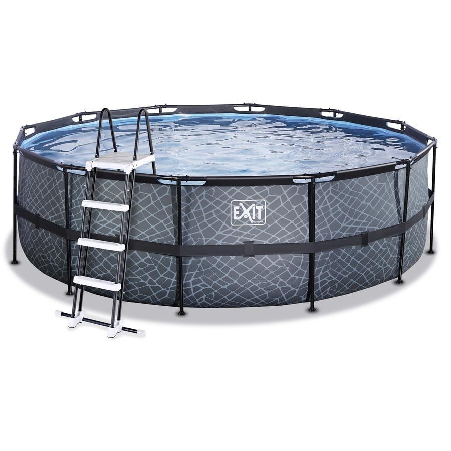EXIT Stone pool ø450x122cm med filterpumpe, grå