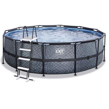 EXIT Stone Pool ø450x122cm mit Sandfilterpumpe, grau