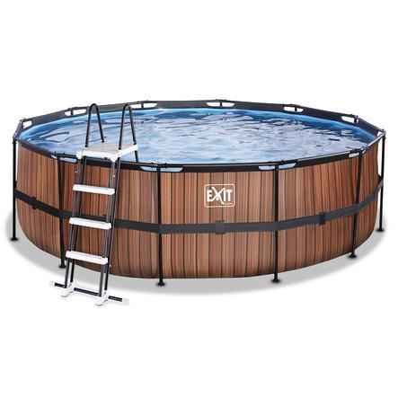 EXIT Piscine tubulaire ronde Wood filtre ø4,5x1,22 m brun