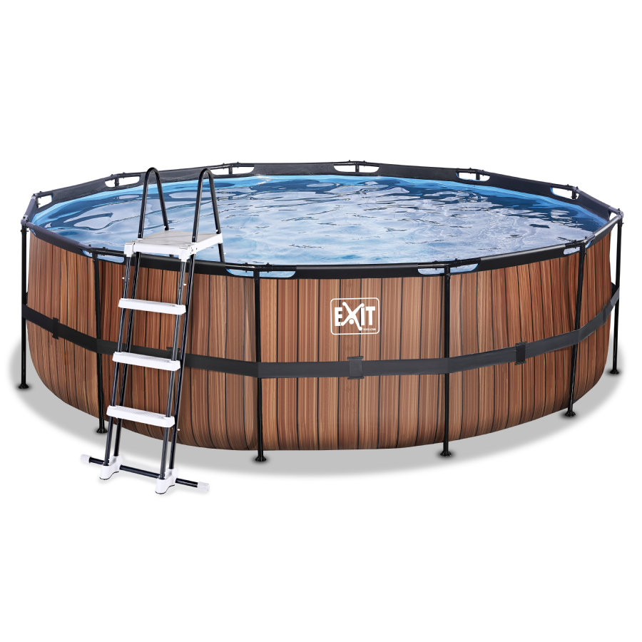 EXIT Wood Pool ø450x122cm mit Filterpumpe, braun